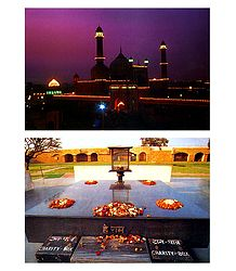 Jama Masjid and Rajghat, Delhi - Set of 2 Postcards
