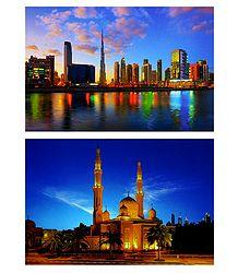 Jumeirah Mosque and Burj Khalifa, Downtown, Dubai - Set of 2 Postcards