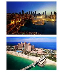 Downtown, Fountain and Atlantis the Palm, Dubai - Set of 2 Postcards