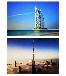 Burj Al Arab and Burj Khalifa, Dubai - Set of 2 Postcards