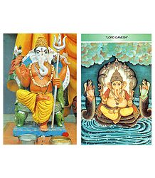 Lord Ganesha - Set of 2 Postcards