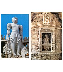 Lord Gomateshwara and Dilwara Temple - Set of 2 Postcards