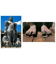 Lord Gomateshwara and Foot of Sri Gomateshwara - Set of 2 Postcards