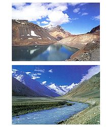 Lake & River View of Himalaya - 2 Postcards