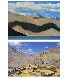 Pangong Lake, Ladakh and Dankar Monastery, Spiti H.P - Set of 2 Postcards