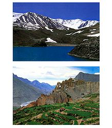 Suraj Tal and Dankar Gompa in Himachal Pradesh - Set of 2 Postcards