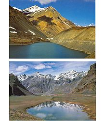 Suraj Tal in Lahaul and Lake Near Pangmo in Spiti - Set of 2 Postcards