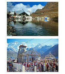 Hemkund Sahib and Kedarnath Temple - Set of 2 Postcards