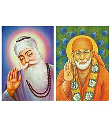 Guru Nanak and Shirdi Sai Baba - Set of 2 Postcards