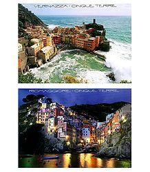 Vernazza and Riomaggiore - Cinque Terre, Italy - Set of 2 Postcards