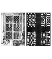 Jali Windows of Hatheesing Jain Temple, Ahmedabad - Set of 2 Postcards