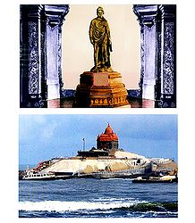 Vivekananda Statue and Vivekananda Memorial, Kanyakumari - Set of 2 Postcards