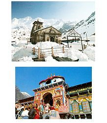 Kedarnath and Badrinath in Uttarakhand - Set of 2 Postcards
