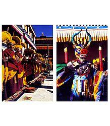 Buddhist Monks and Mask Dance, Ladakh