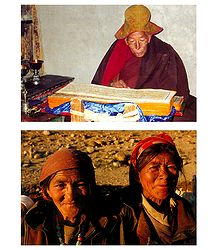 Monk and Elderly Women, Ladakh