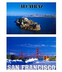Alcatraz Island and Golden Gate Bridge, San Francisco - Set of 2 Postcards