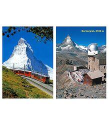 Matterhorn Peak and Gornergrat, Switzerland - Set of 2 Postcards