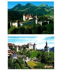 Gruyeres, Switzerland - Set of 2 Postcards