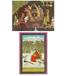 Well Scene and Ragini - Set of 2 Postcards
