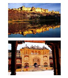 Amber Fort and Ganesh Pol, Jaipur - Set of 2 Postcards