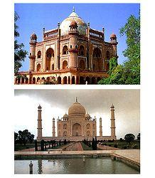 Safdarjung Tomb, Delhi & Taj Mahal, Agra - Set of 2 Postcards