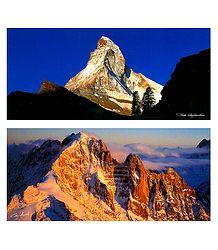 Matterhorn, Zermatt and Aiguille Verte, Switzerland  - Set of 2 Postcards