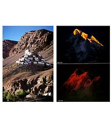 Ki Gompa Near Kaza and Sunrise, Sunset in Himalayas - Set of 2 Postcards