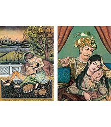 Akbar with his Consort Maryam Postcards