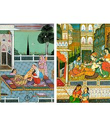 A Prince with his Consort in a Love Scene and A Prince in a Love Scene inside his Harem - Set of 2 Postcards