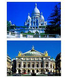 Sacre Coeur and Opera Garnier, Paris - Set of 2 Postcards