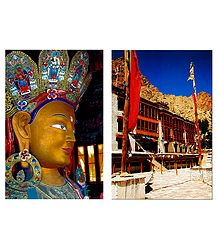 Lord Buddha and Hemis Gompa, Ladakh - Set of 2 Postcards