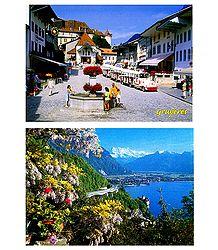 Gruyeres and Le Chateau de Chillon, Switzerland - Set of 2 Postcards
