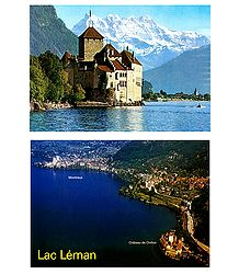 Le Chateau de Chillon and Lake Leman, Switzerland - Set of 2 Postcards, Switzerland - Set of 2 Postcards