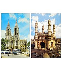 Charminar, Hyderabad and Church, Mysore - 2 Postcards