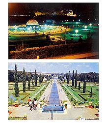 Brindavan Garden, Mysore and Park, Ooty - Set of 2 Postcards