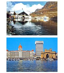 Hemkund Sahib and Gateway of India - 2 Postcards