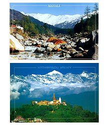 Manali, India and Kathmandu, Nepal - Set of 2 Postcards