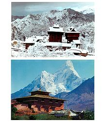 Bhimakali Temple, H.P, India and Mt. Ama Dablam, Nepal - Set of 2 Postcards