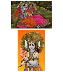 Krishna and Radha Krishna on Swing - Set of Two Postcards