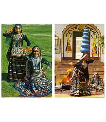 Rajasthani Folk Dancers - Set of 2 Postcards