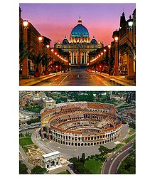 Colosseum in Rome and St. Peter's Basilica in Vatican - Set of 2 Postcards