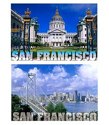 City Hall and Bay Bridge, San Francisco - Set of 2 Postcards