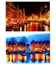 Night View of Amsterdam, Netherlands - Set of 2 Postcards