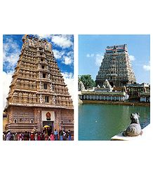 Chamundeswari Temple, Mysore and Chidambaram Temple, Tamilnadu - Set of 2 Postcards