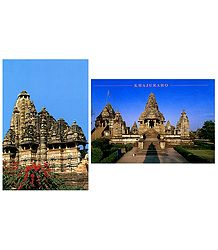 Kandariya Mahadev Temple and Lakshmana Temple in Khajuraho - Set of 2 Postcards