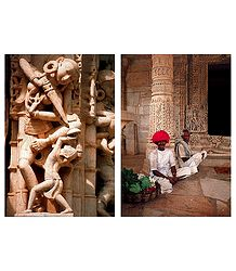 Temple Wall Carvings and Flower Seller in Khajuraho