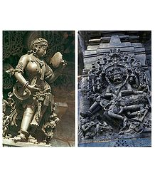 Temple Wall Carvings, Belur - Set of 2 Postcards