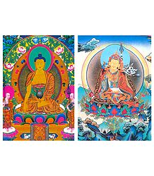 Sakyemune Buddha and Guru Padmasambhava - Set of 2 Postcards