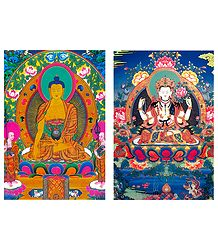 Sakyemune Buddha and Chenrezie - Set of 2 Postcards