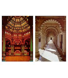 Amba Vilas and Hutheesing Jain Temple - Set of 2 Postcards